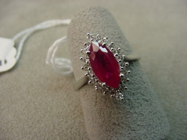 5073: 14K WHITE GOLD RUBY AND DIAMOND RING