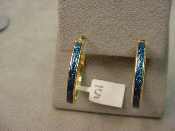 6005: PAIR 14K GOLD ENAMEL DECORATED EARRINGS