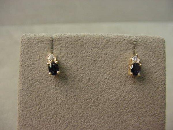 6007: PAIR 14K GOLD BLUE SAPPHIRE AND DIAMOND EARRINGS