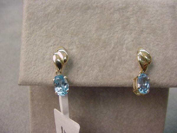 6010: PAIR 10K GOLD BLUE TOPAZ EARRINGS