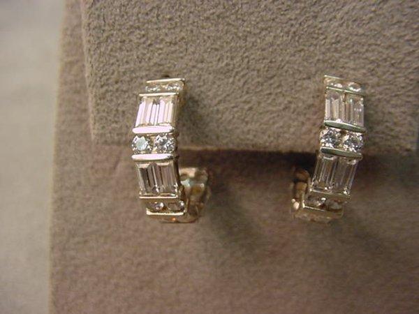 6015: PAIR 14K WHITE GOLD CUBIC ZIRCONIA EARRINGS