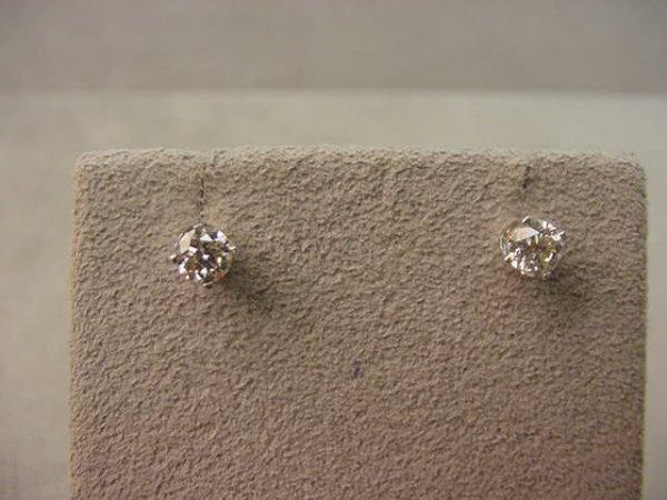 6016: PAIR 14K WHITE GOLD DIAMOND EARRINGS