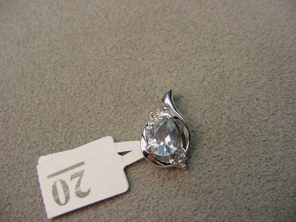 6020: 10K WHITE GOLD AQUAMARINE AND DIAMOND PENDANT