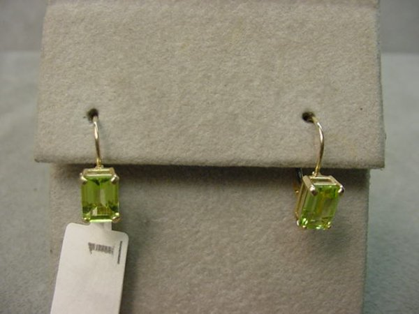 8001: PAIR 10K GOLD PERIDOT PIERCED EARRINGS