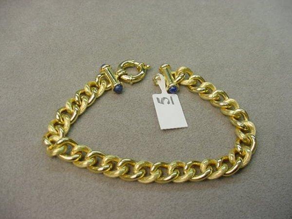 8005: 14K GOLD CURB LINK BRACELET -LAPIS