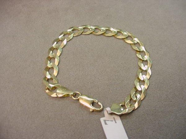 8007: 1 8 1/4 INCH 14K GOLD BRACELET-- 3/8 INCH WIDE