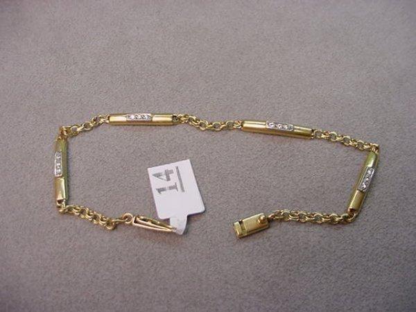8014: 18K GOLD CLEAR STONE BRACELET