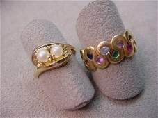 8214: 2 14K GOLD RINGS -CULTURED PEARL, STONE