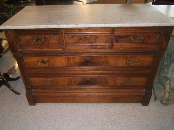 9051: WALNUT 5 DRAWER MARBLE TOP CHEST