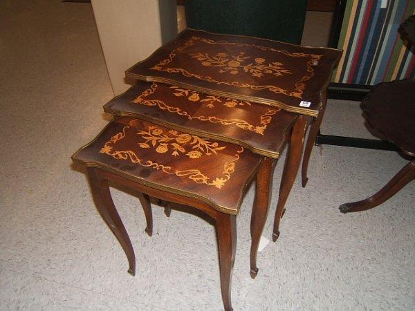 9068: 3 INLAID MAHOGANY NESTING TABLES