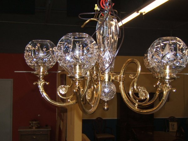 9052: BRASS AND WATERFORD CUT GLASS CHANDELIER