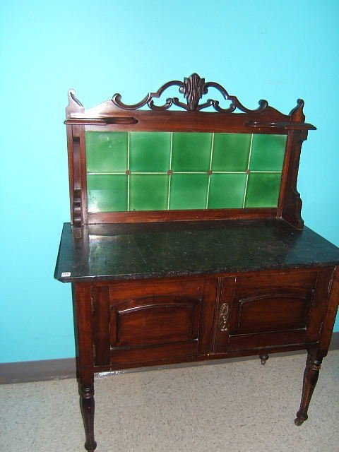 9360: MARBLE TOP WASHSTAND WITH TILE SPLASHBOARD