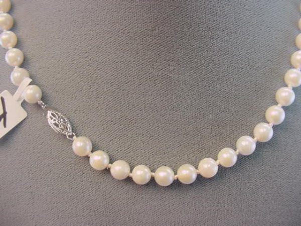"1014: 16"" STRAND CULTURED PEARLS -14K WHITE GOLD CLASP"