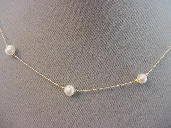 1024: 14K GOLD NECKLACE WITH CULTURED PEARL SPACERS
