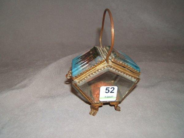 2052: DOUBLE HINGED SOUVENIR BEVELED GLASS TRINKET BOX