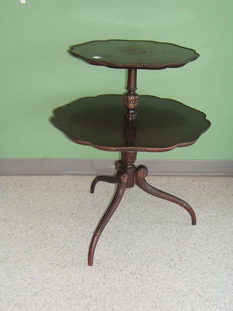 2054: MAHOGANY 2 TIER TRIPOD TABLE