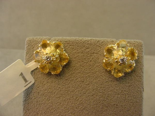 3001: 14K GOLD CITRINE AND DIAMOND EARRINGS