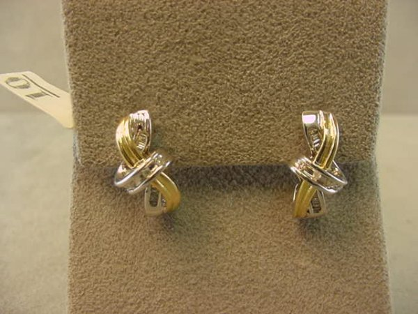 3010: 14K 2 COLOR DIAMOND EARRINGS