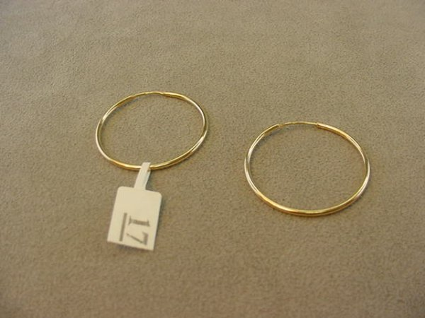 3017: PAIR 148K GOLD HOOP PIERCED EARRINGS