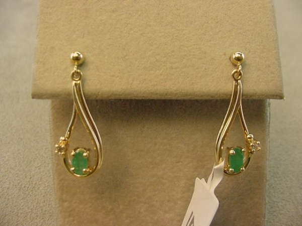 3021: PAIR 10K GOLD EMERALD AND DIAMOND EARRINGS