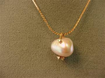 3131: 18K ROSE GOLD PEARL AND DIAMOND PENDANT ON CHAIN