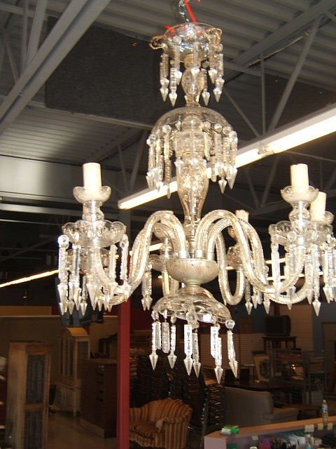 4054: CUT GLASS CHANDELIER WITH PRISMS
