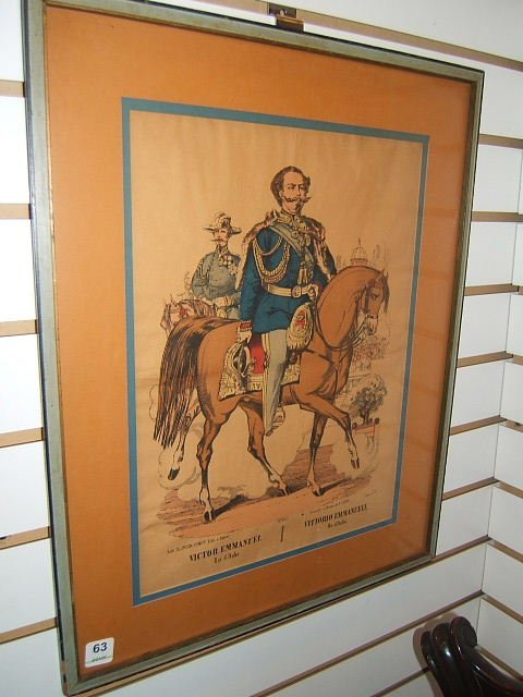 4063: FRAMED COLORED LITHOGRAPH