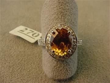 5270: 14K WHITE GOLD CITRINE AND DIAMOND RING