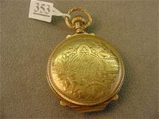 5353 LADIES ILLINOIS CO POCKETWATCH 14K GOLD CASE
