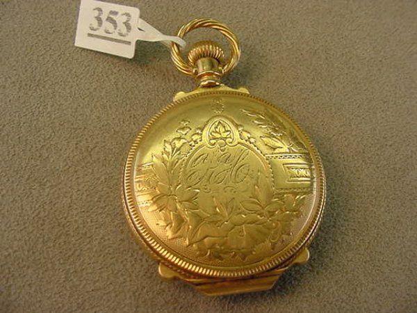 LADIES ILLINOIS CO. POCKETWATCH -14K GOLD CASE