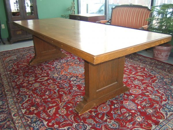 6295: LARGE OAK LIBRARY TABLE
