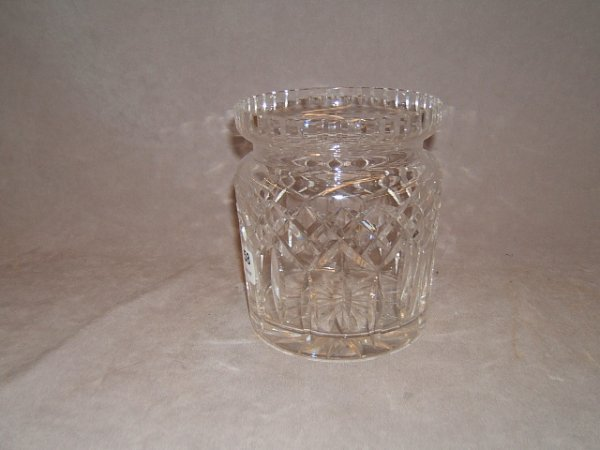 6058: WATERFORD GLASS BISCUIT JAR -NO LID, RIM CHIP