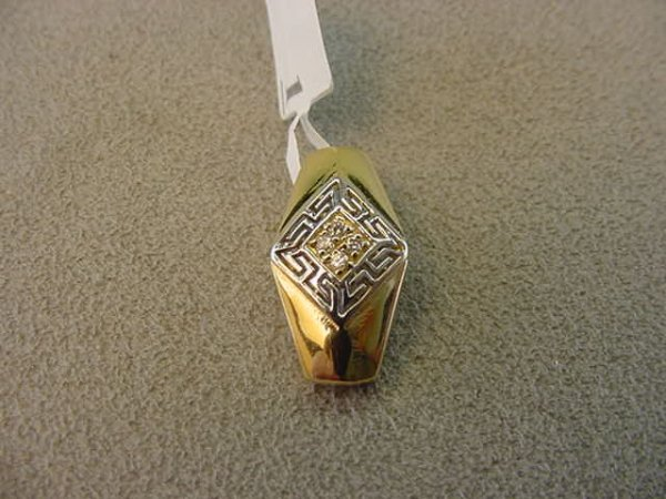 7001: 14K GOLD CLEAR STONE PENDANT