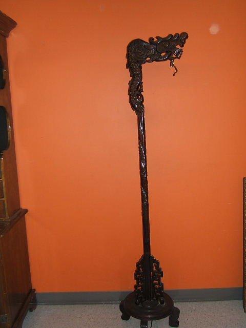 1064: ORIENTAL CARVED WOOD FLOOR LAMP BASE