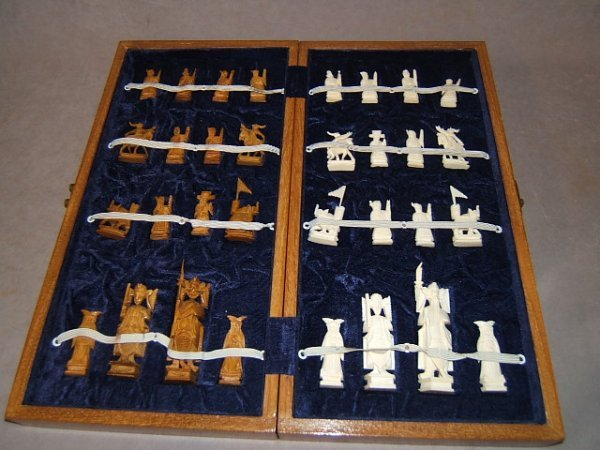 1056: IVORY CHESS SET IN WOOD CASE--1 FLAG MISSING