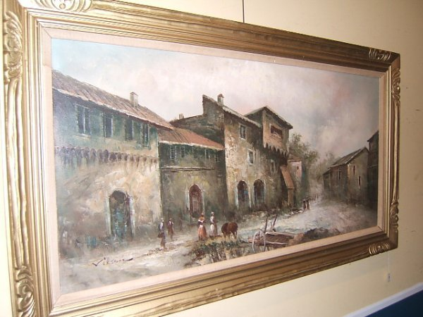 1061: LARGE FRAMED SIGNED PAINTING ON CANVAS