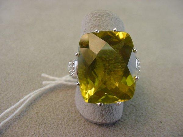 1072: 14K WHITE GOLD QUART AND DIAMOND RING