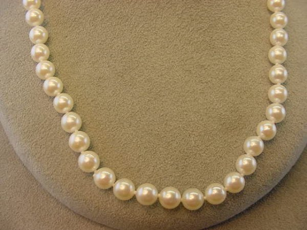 """2007: 17"""" STRAND CULTURED PEARLS -14K WHITE GOLD CLASP"""