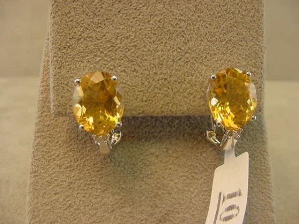 2010: 14K WHITE GOLD CITRINE AND DIAMOND EARRINGS