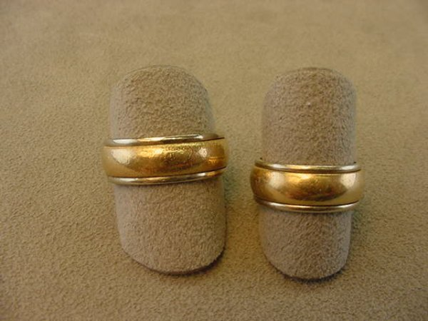 2012: 2 14K YELLOW AND WHITE GOLD ART CARVED BANDS