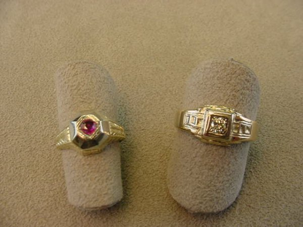 2017: 2 ANTIQUE RINGS -1OK & 14K WITH DIAMONDS,RUBY