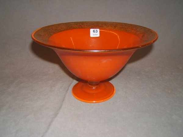 3063: GOLD DECORATED FLASHED GLASS PEDESTAL BOWL