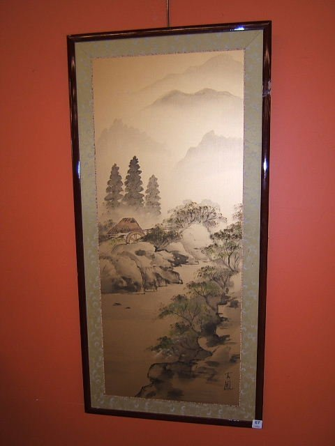 3067: FRAMED ORIENTAL PAINTING ON TEXTILE