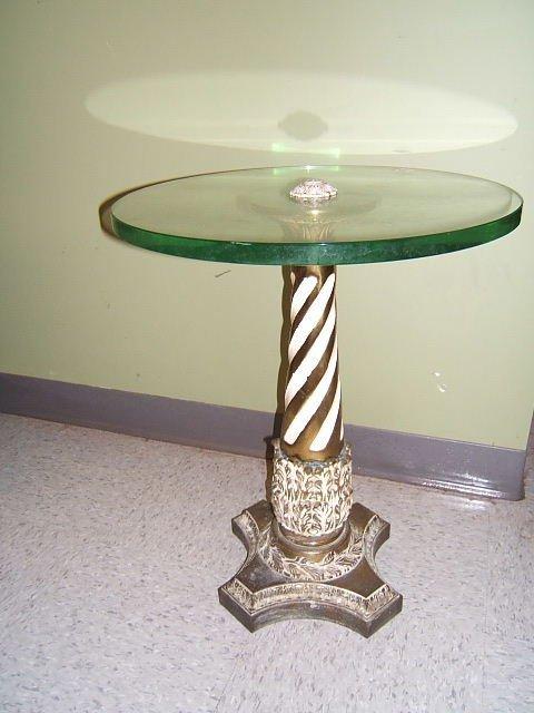 3065: GLASS TOP METAL TABLE