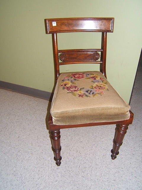 3068: WALNUT CHAIR WITH NEEDLPOINT SEAT