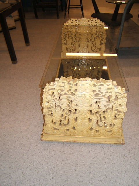 3093: ELABORATELY CARVED GLASS TOP TABLE