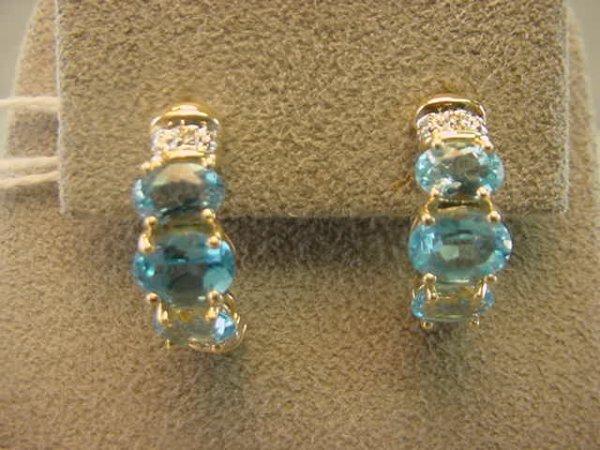 3072: 10K GOLD BLUE TOPAZ AND DIAMOND EARRINGS