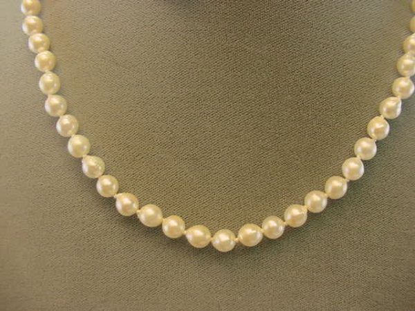 """3073: 18"""" STRAND CULTURED PEARLS -14K CLASP"""