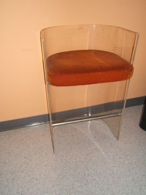 3500: 2 MATCHING UPHOLSTERED LUCITE CHAIRS