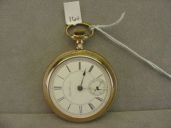 4003: SETH THOMAS 17J OPENFACE POCKETWATCH IN GOLD FILL